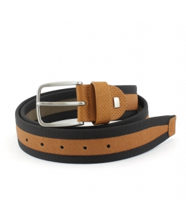 NAE Olot Belt Man brown eco-friendly microfiber vegan buckle