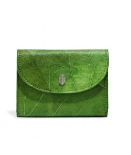 Women's wallet leaves coin purse waterproof vegan button closure