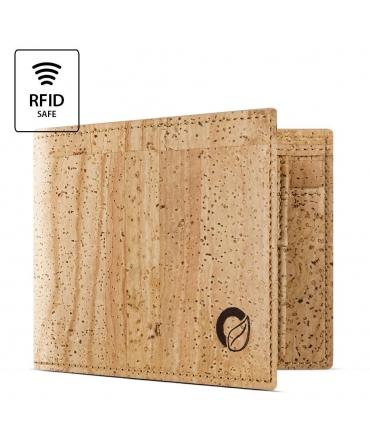 CORKOR Portafoglio Bifold Uomo sughero blocco RFID modello a libro portamonete vegan