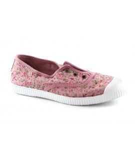 CIENTA rosa fiori scarpe Bambina elastico tessuto slip on