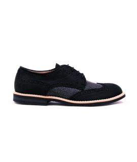FERA LIBENS Zapato Derby Mujer Microfibra Cordones de Ante Vibram Sole Made in Italy