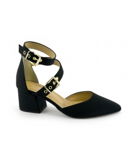 VSI Sandali Donna tessuto tacco cinturino fibbie vegan shoes Made in Italy