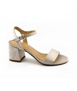 VSI Sandali Donna tessuto tacco strass cinturino fibbia vegan shoes Made in Italy