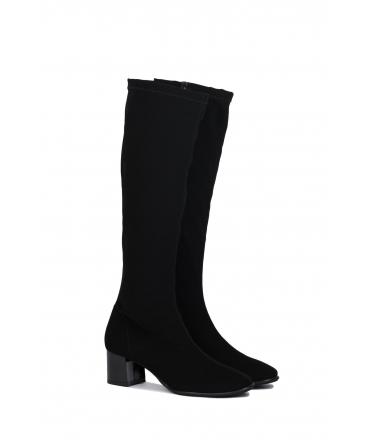 RAPISARDI MILA KNEE M802 Chaussures Femme Bottes talon zippé effet tissu Chaussures végétaliennes en nubuck