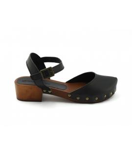 VSI KARI Zapatos de mujer Sandalias Zuecos Tacón de madera con punta cerrada Zapatos veganos Hecho en Italia