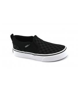 VANS ASHER VH001X black nero scarpe unisex sneakers slip on scacchi elastico
