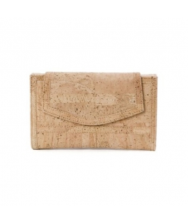 Woman wide cork wallet vegan waterproof button closure