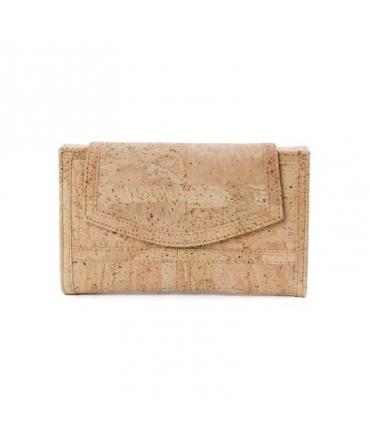 Woman wide cork wallet vegan waterproof button closure