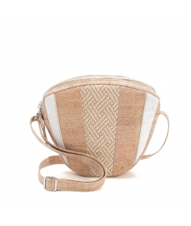 ARTELUSA Woman cork bag adjustable shoulder strap intertwining waterproof raffia double vegan zipper