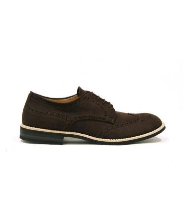 FERA LIBENS Herren Derby Schuh aus Mikrofaser Wildleder Schnürsenkel Vibram Sohle Made in Italy