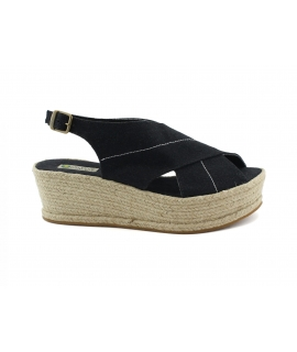 Women's shoes wedges PET recycled heel strap crossover jute vegan shoes