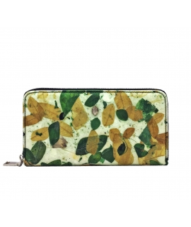Women's accordion leaf wallet vegan zip closure waterproof coin purse
