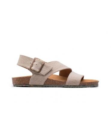 ZOURI Sea Chaussures femme Sandales Chaussures végétaliennes en lin naturel à double boucle