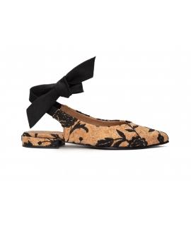 NAE Beth chaussures Femme ballerines broderie noeud en liège chaussures vegan