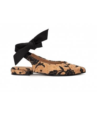 NAE Beth scarpe Donna ballerine ricamo sughero fiocco vegan shoes