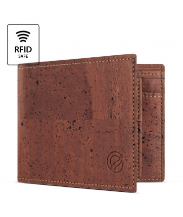 Portafoglio Bifold Uomo sughero blocco RFID modello a libro portamonete vegan