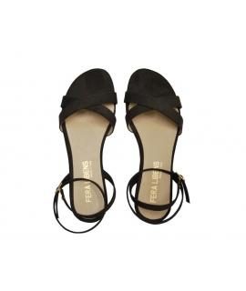 FERA LIBENS Clio Scarpe Donna Sandali Tacco Suede di Microfibra Made in Italy