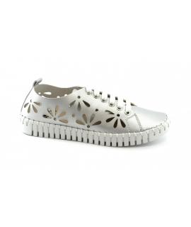 SKA ORIGINAL Ofelia scarpe Donna lacci forate petali laminato vegan shoes