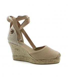 Scarpe Donna zeppe cotone tacco cinturino nastro juta vegan shoes