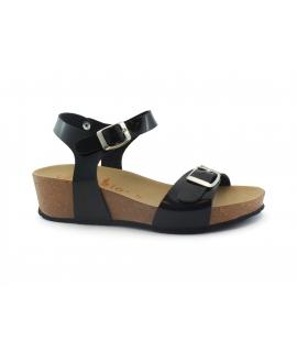 VEGAN BIO Ailanto Scarpe sandali Donna zeppe doppia fibbia vernice vegan shoes
