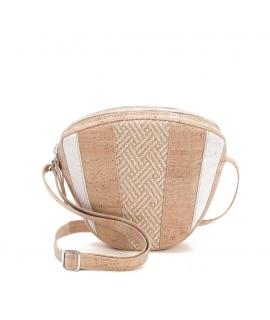 ARTELUSA Woman cork bag adjustable shoulder strap intertwining waterproof raffia double vegan zipper