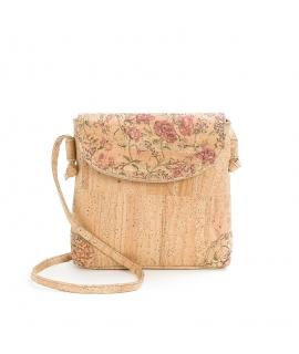 ARTELUSA Bag woman floral patterned cork shoulder strap and button vegan waterproof zip
