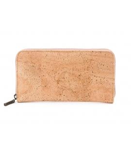 Damenbrieftasche aus Kork mit veganem Reißverschluss