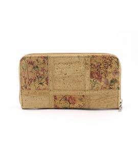 Portefeuille femme en liège avec fermeture zippée à motif floral et végétalien