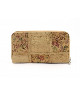 Woman cork wallet with vegan floral patterned zip closure