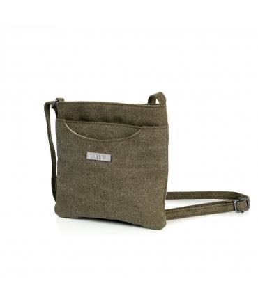 SATIVA Shoulder Bag Unisex hemp adjustable vegan zip closure