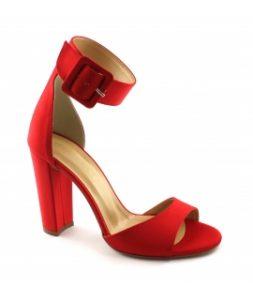 sandalo rosso vegan fibbia