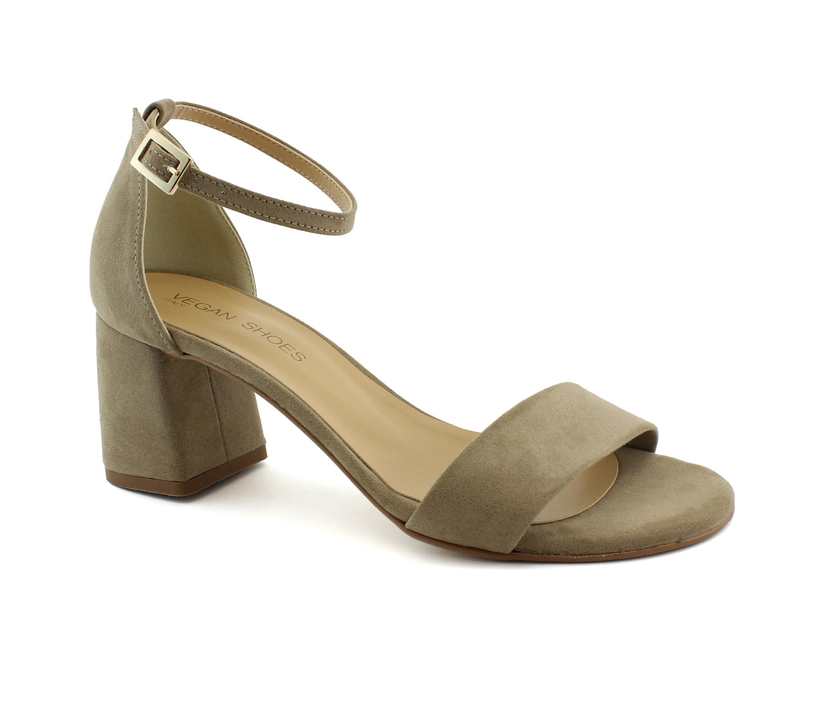sandali vegan donna tacco beige cinturino fibbia