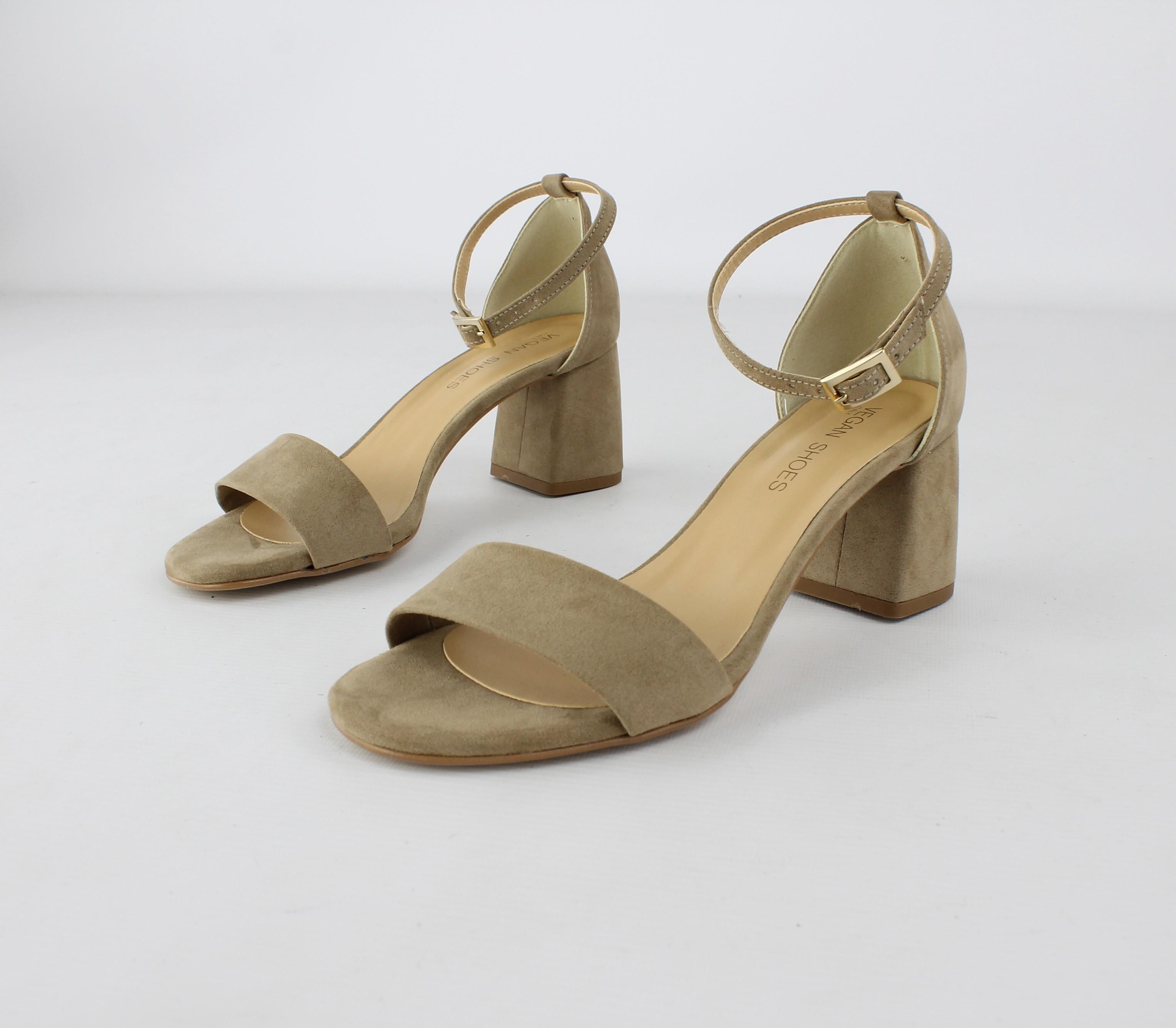 sandali vegan donna beige tacco cinturino