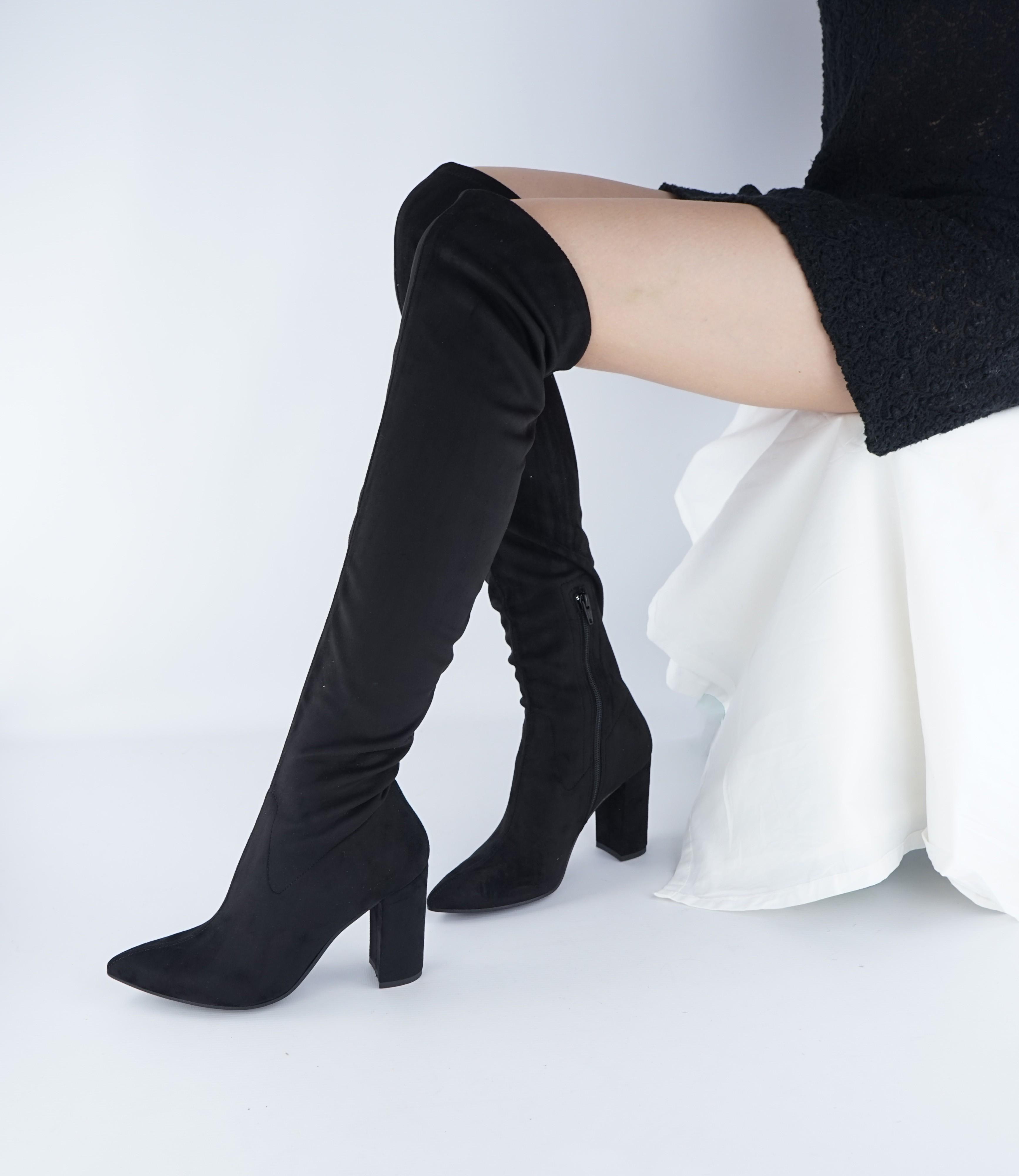 stivali vegan donna tubolari tacco punta