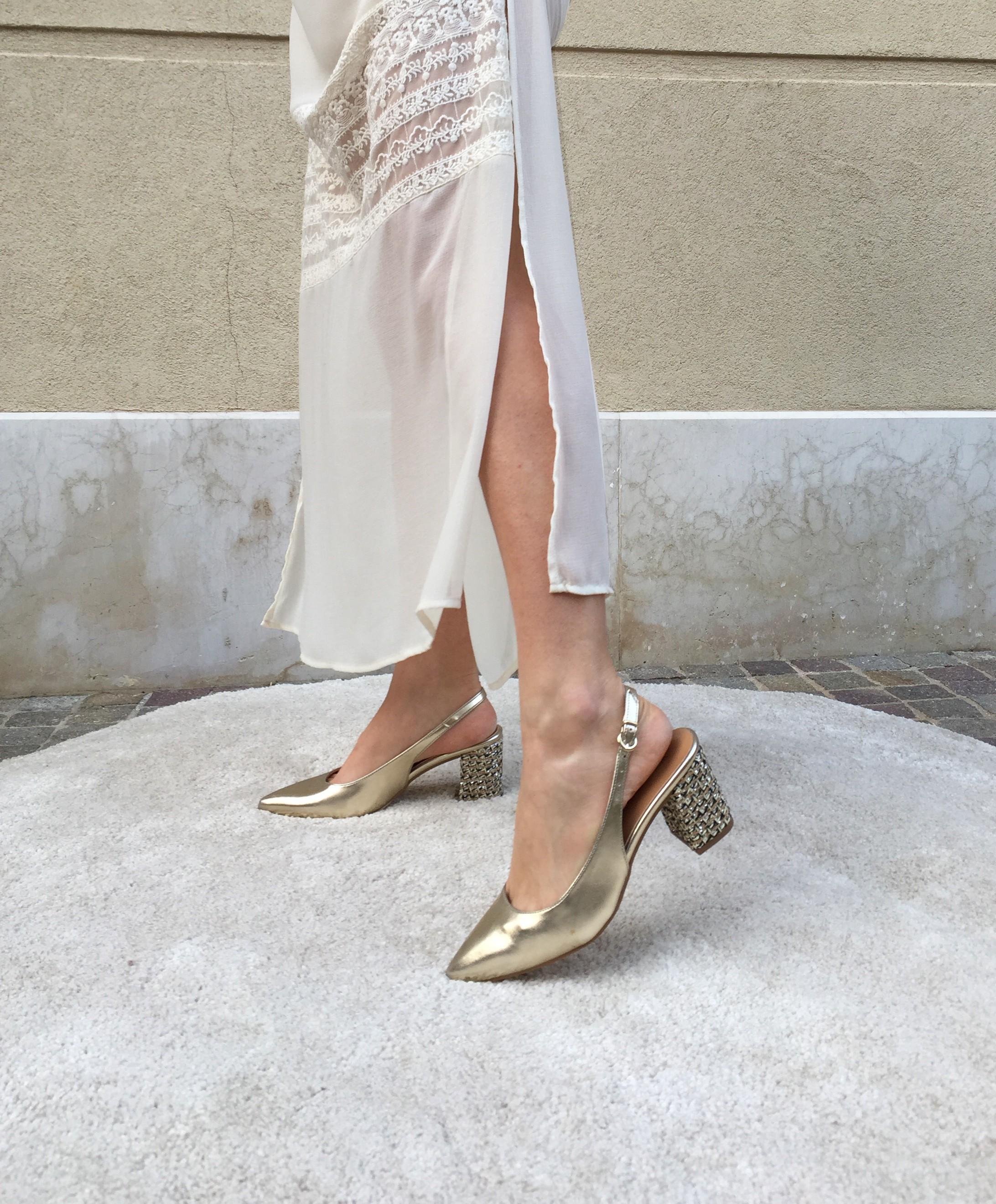 vsi scarpe sposa donna oro strass punta tacco largo